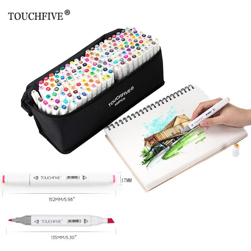 Touchfive Doppia Headed pittura di arte della penna del contrassegno di vernice Alcol pennarello manga del fumetto graffiti sketch Art markers set designer
