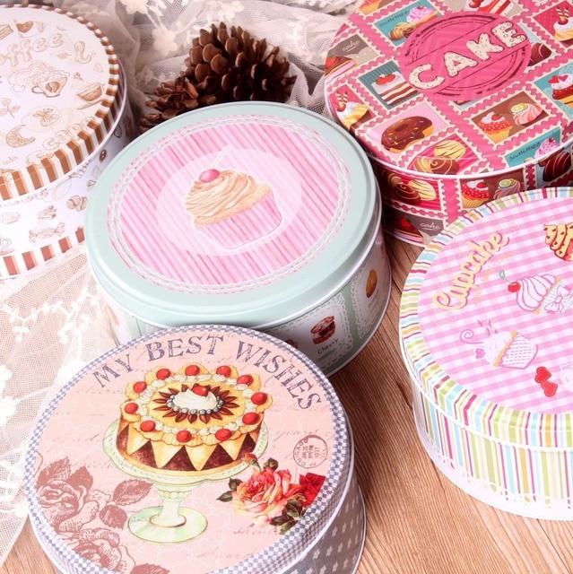 New Arrival 2pcs Lot Creative Round Tin Storage Box Cake Design