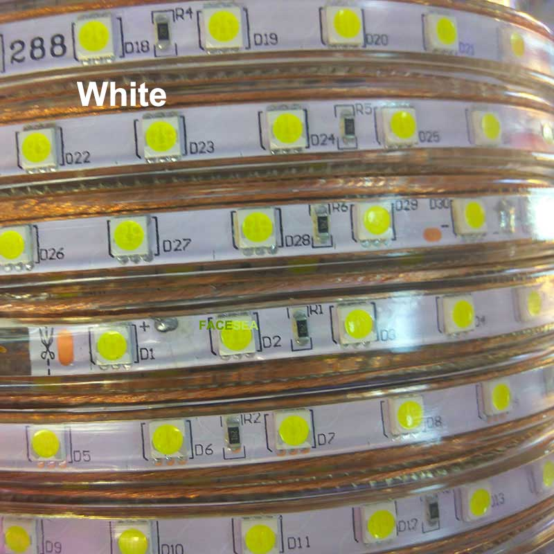 100 м Светодиодная лента гибкий свет SMD 5050 AC 220 V Высокая яркость 60 светодиодов/м водонепроницаемая лента тесьма со светодиодами + ЕС Вилка пита... - 2