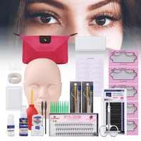 12/13/14/19pcs/Set False Eyelashes Extension Set with Training Head Model Practice Silicone Mannequin Head Tweezers Kits