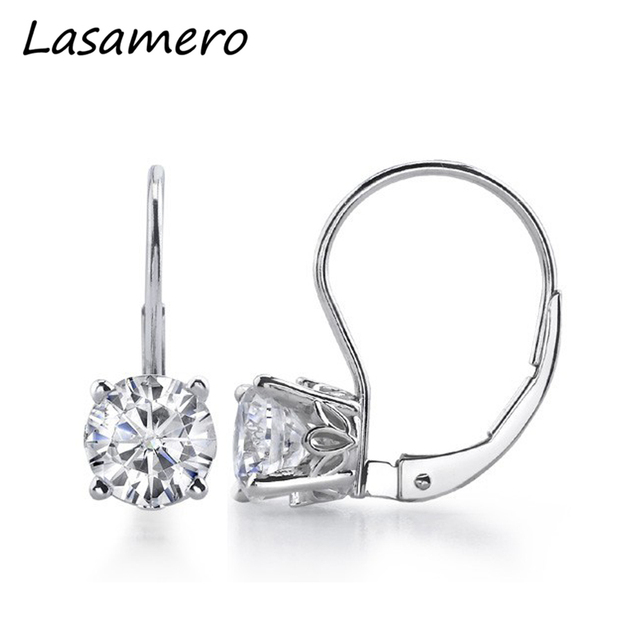 Lasamero Vintage Scroll Leverback Earrings 14k Gold 1 Ctw Lab Grown Moissanites Diamond Clip On