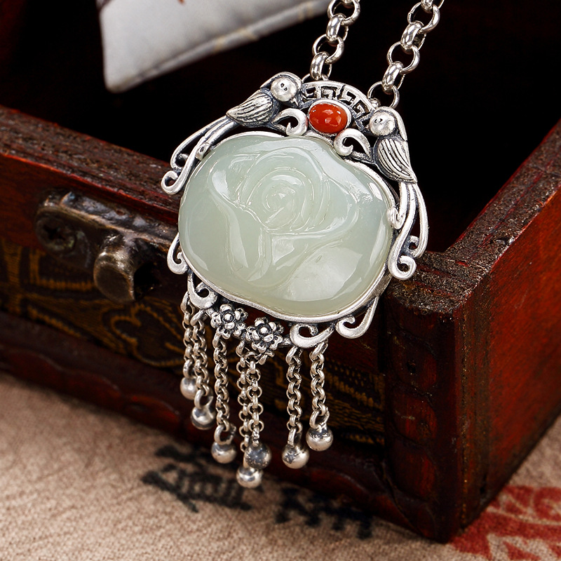 S925 Pure Silver Antique Mosaic And Tian Yu White Jade Plum Blossom Magpie Tassel Sweater Chain Pendant Wholesale