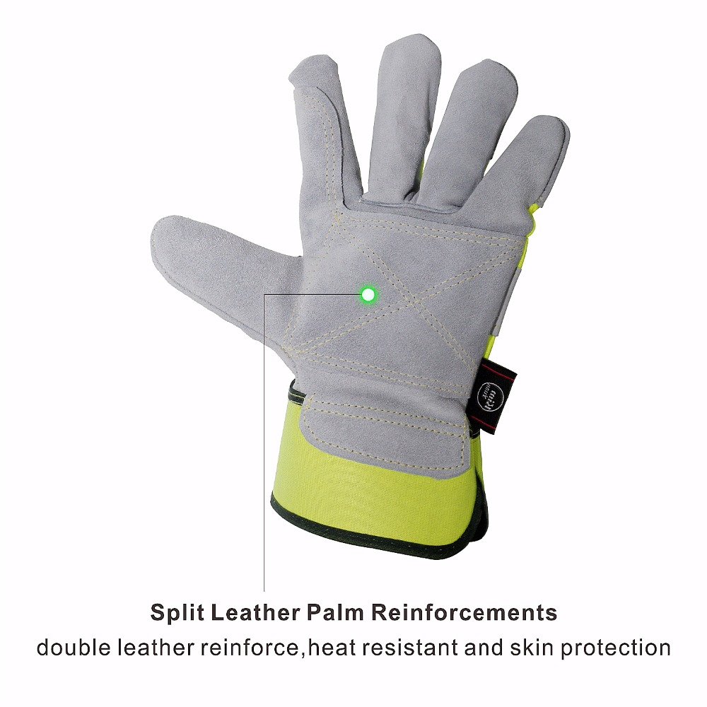 KIM YUAN 004 Leather Green Security Work Gloves Anti slippery Dirt resistant for Gardening Construction Outdoor Men Women in Safety Gloves from Security Protection