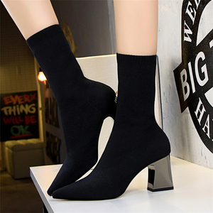 Image 5 - 2020 Spring Fashion Women Boots Beige Pointed Toe Yarn Elastic Ankle Boots Thick Heels Shoes Autumn Winter Female Socks Boots