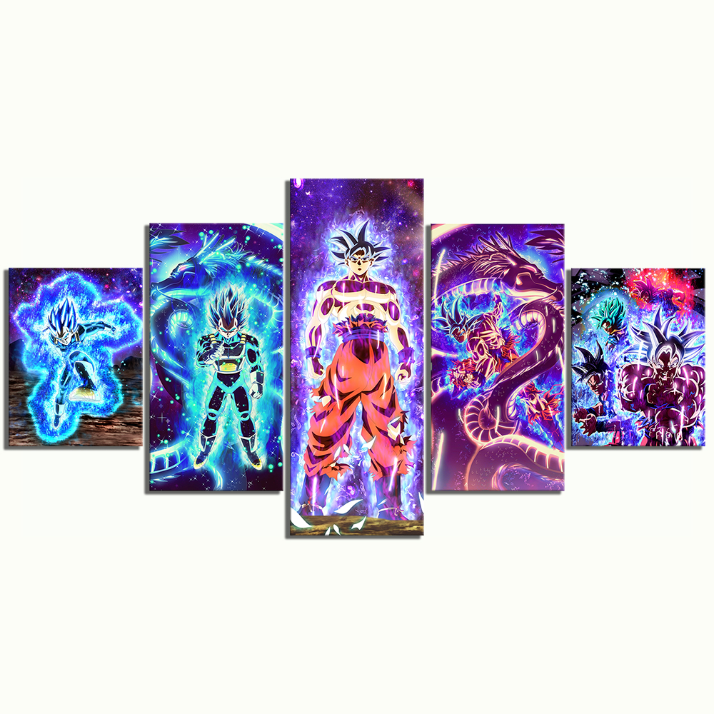 5 Piece Dragon Ball Super Ultra Instinct Goku and Vegeta Pictures Canvas Paintings Animation Wall Art for Home Decor 3