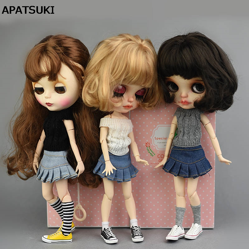 Blue Jeans Casual Wear Clothes For Blythe Doll Kids Toy A-line Skirt For Blyth Licca Doll Clothes 1/6 Doll Accessories