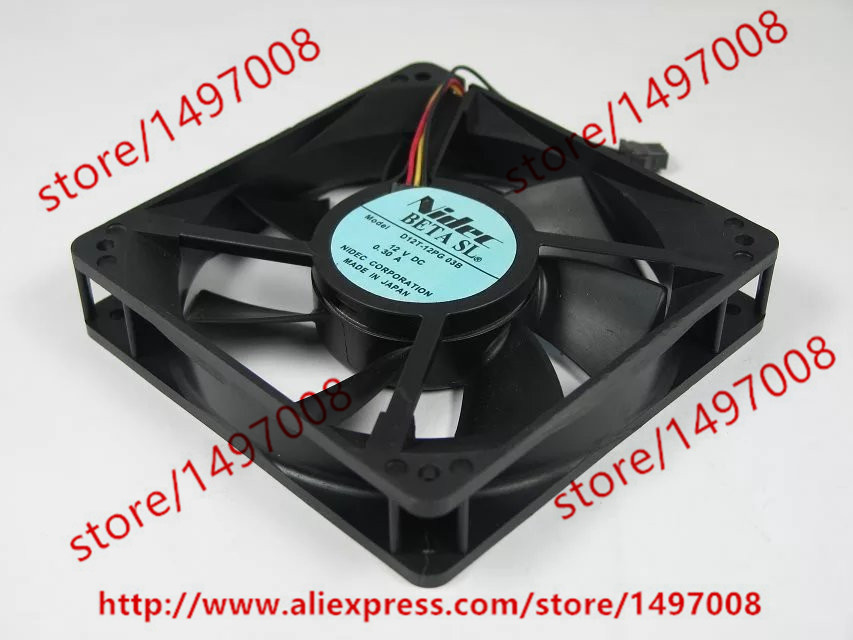 Free Shipping D12T-12PG 03B DC 12V 0.30A 3-wire 3-pin connector 100mm 120x120x25mm Server Square Cooling Fan free shipping emacro sf7020h12 61as dc 12v 250ma 3 wire 3 pin connector 65mm6 server cooling blower fan