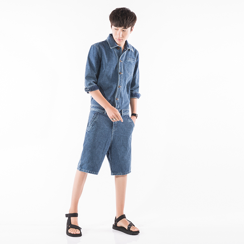 fed49edecf3 Men Denim Harem Jumpsuit Street Fashion Casual A Piece Short Sleeve Short  Jeans Overalls Male Hip Hop Trousers Jumpsuit-in Jeans from Men s Clothing  on ...