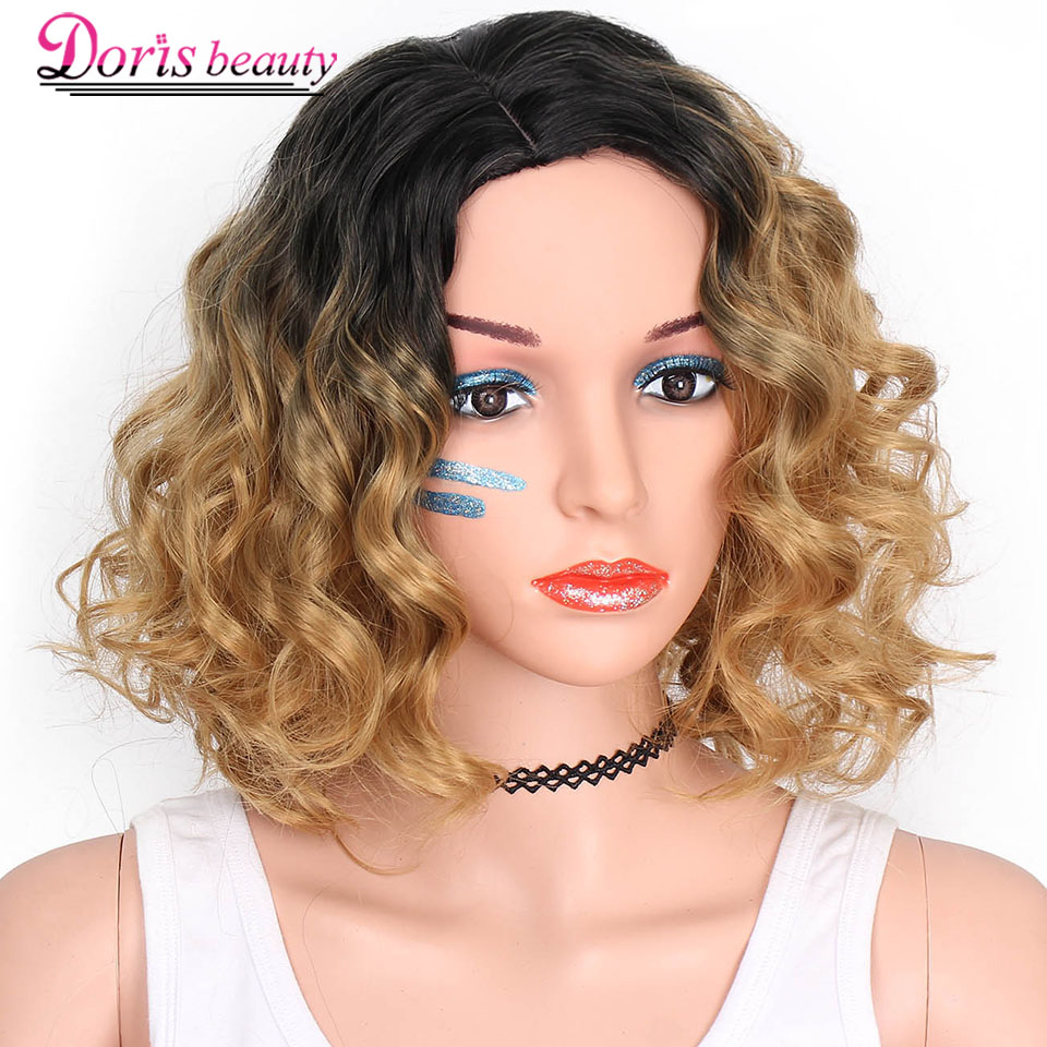 Doris beauty Ombre Black Short Blonde Wigs for Women Synthetic Blonde Wavy Wig Fluffy Hair Cosplay Heat Resistant