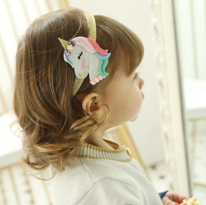 10Pc Hair Accessories Unicorn Hair Band Hair Hoop Handmade Rainbow Headwear Hairband Children's Solid Covered New Year Gift