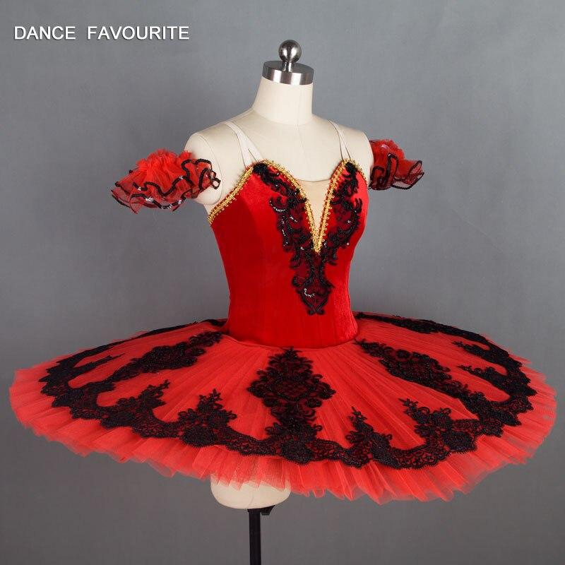 B18032 Kitri Don Quixote Professional Ballet Tutus Black Red Ballet Stage Costume Adult Women Performance Ballet Pancake Tutu