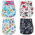 Washable Baby Cloth Diapers Couches Lavables Baby Diaper Pockets Cartoon Print Baby Nappy Changing Reusable Baby Cloth Diapers