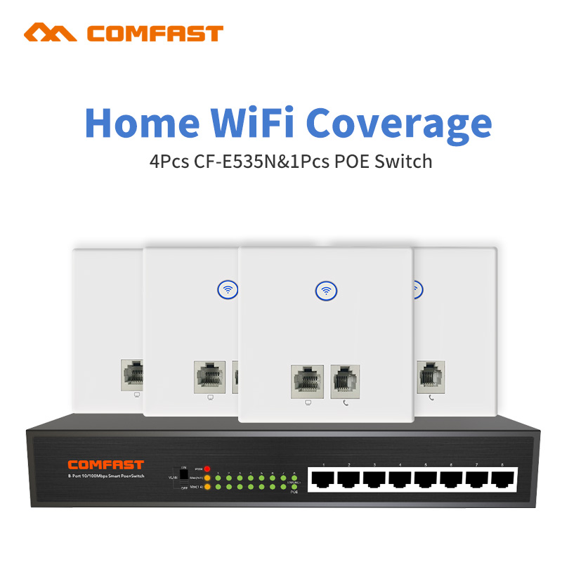 DHL Home Wifi Solution 4pcs Comfast E535 300Mbps Wall Embedded Wireless WiFi Repeater RJ11/ RJ45 AP +1 8 Ports Fast Poe Switch беспроводной маршрутизатор fast fw150rm ap wifi