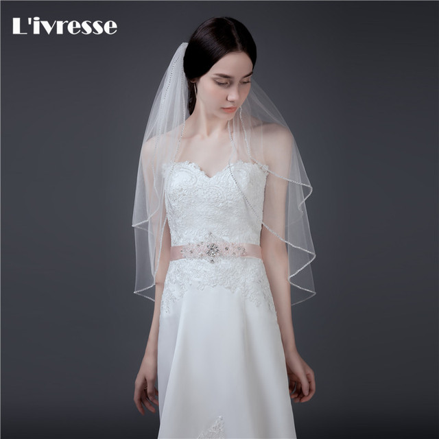 Top Quality 2 Layers Short Wedding Veil With Crystals Edge Bruidssluier Bridal Veils Comb Velo