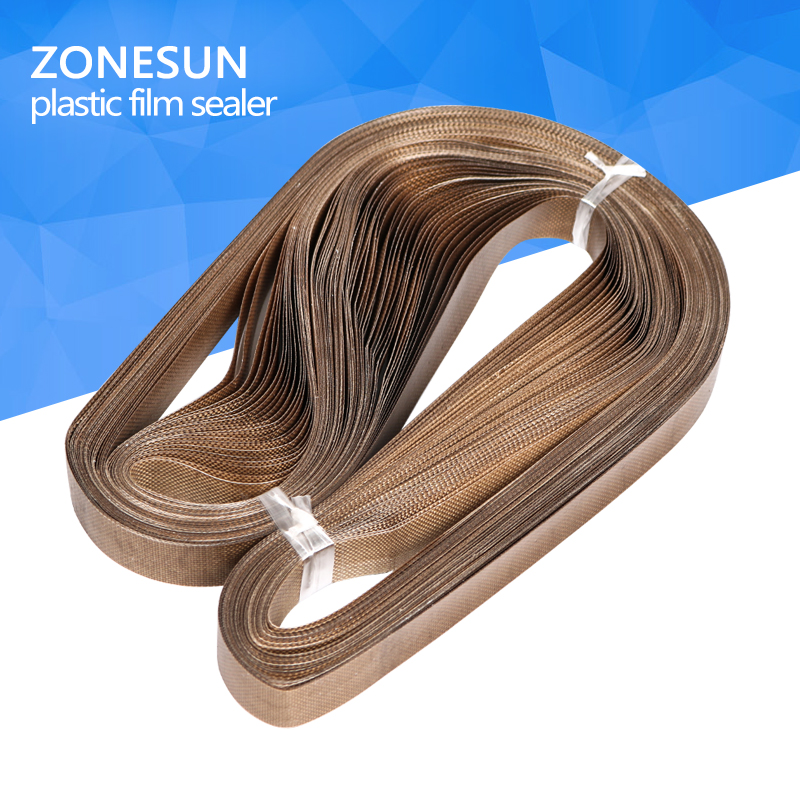 ZONESUN for sealing machine 50pcs/lot 750*15mm teflon belt for FR-900 /SF-150 band sealer/plastic bag/plastic film sealer