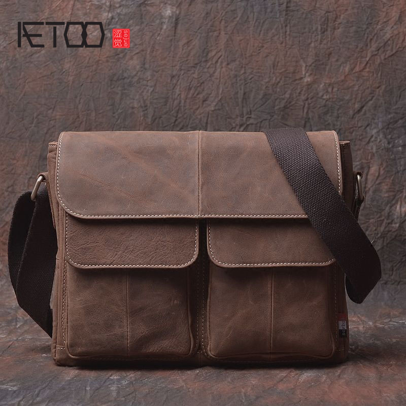 AETOO Original crazy horse skin bag retro handmade first layer of leather shoulder bag Messenger bag packageAETOO Original crazy horse skin bag retro handmade first layer of leather shoulder bag Messenger bag package