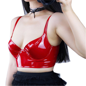 Image 1 - Patent Leather Corset Bright Red Black With A Steel Ring Elastic Bottoming Bustiers Sling Bra PU Imitation Leather VG06
