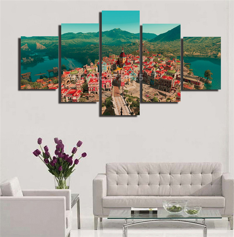 2017 Hot Sale New Unframed European Painting 5 Pieces