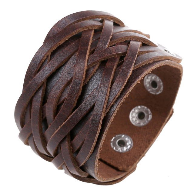 Punk Men S Wide Leather Bracelet Vintage Braided Ropes Charm Wrap Cuff Bracelets Pulseras Jewelry