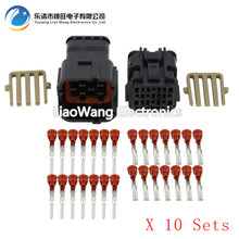 10 Sets 14 Pin jacket male and female connector black plastic car with terminal DJ7141Y-2-11 / 21 14P