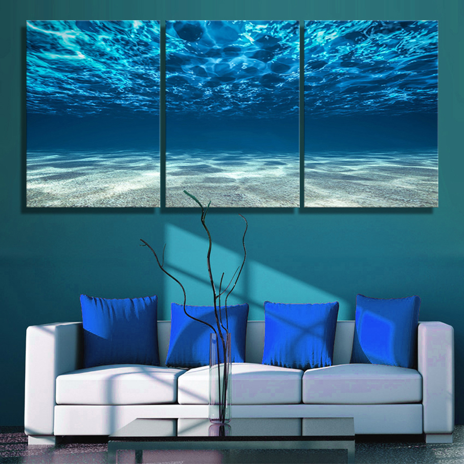 3 panels canvas paiting Print Blue Ocean Wall Art Picture Seaview Bottom View Surface Seascape Modern