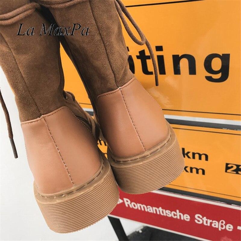 Bout Black En brown Chaussures Militaire Dames Cheville Rond Lettres Hiver Plates Bottes Martens 2018 Caoutchouc Pour Mujer Troupeau Automne Femmes aqYUUS