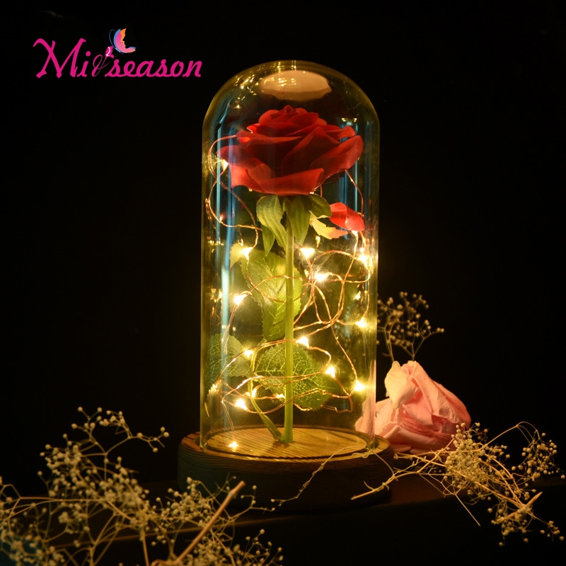 1Set Beauty and the Beast Red Rose in a Glass Dome on a Wooden Base for Valentines Gifts Home Table Decoration Eternal flowers