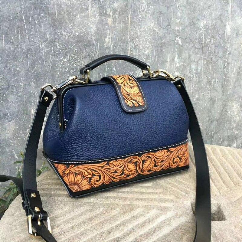 Vintage Style Handmade Genuine Cow Leather Engraved Women's Crossbody Shoulder Bag Female Handbag Lady Doctor Bag Clutch Purse