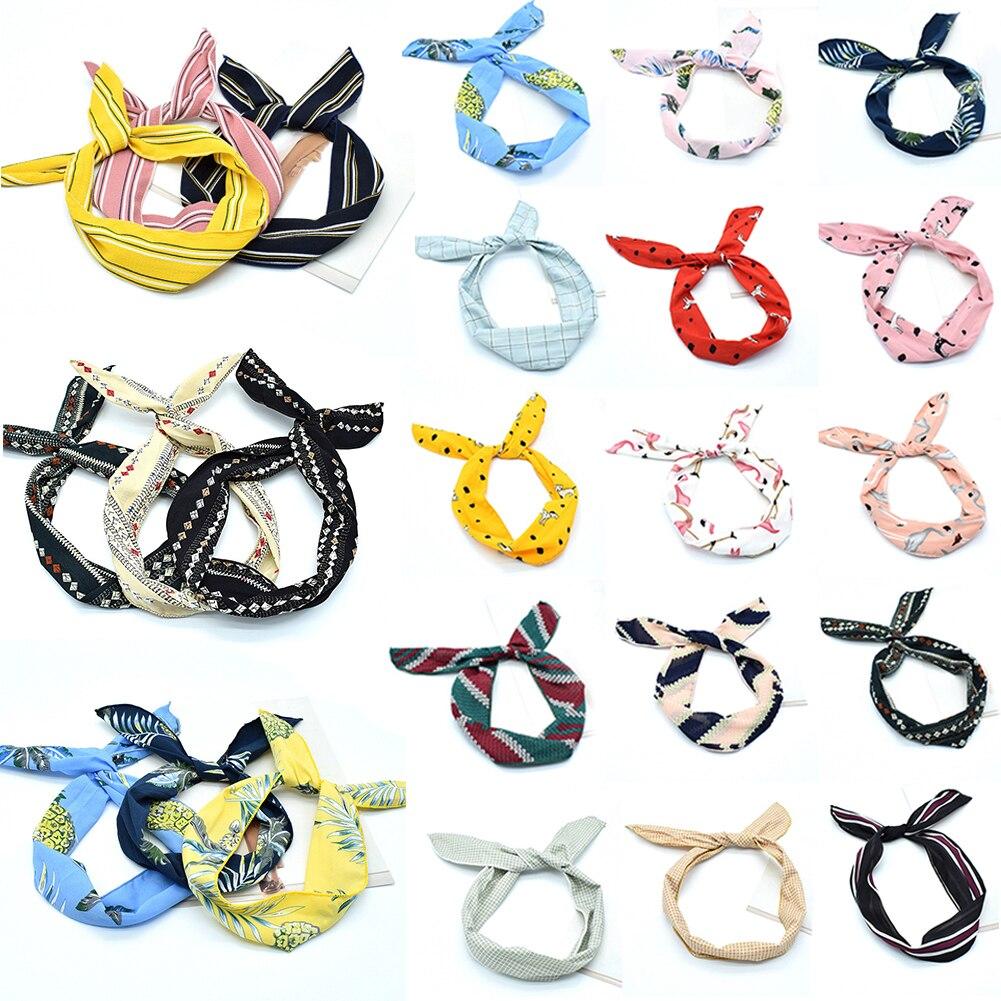 2019 estilo coreano adorables Orejas de conejo anudado diadema de alambre de Metal bufanda diademas cinta mujeres diademas niñas accesorios para el cabello