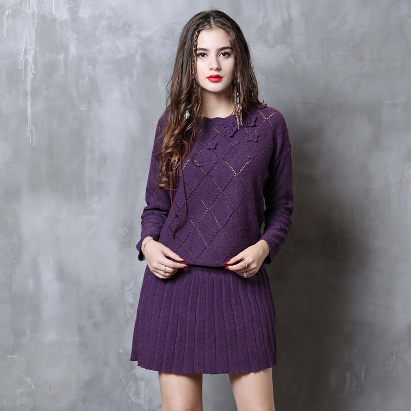 Vintage Winter Sweater Dress 2018 Cotton Wool Floral Knitting Dresses Female O Neck Long Sleeve Pleated Sweater Dress Vestidos