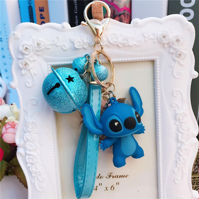 16 Styles Cartoon Lilo And Stitch Keychain LED Stitch Key Ring Sound Flash Rope Bell Backpack Pandant Gifts