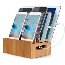 Cell Phone Charger Dock Holder For iPhone 7 8 X Bamboo Holder Desk Wood Charging Stand For Samsung Note 8 For iPad Phone Holder(China)