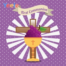 Yeele First Communion Chalice Cross Grape Circle Pattern Poster Photography Backgroud Scenic Photographic Backdrops Photo Studio