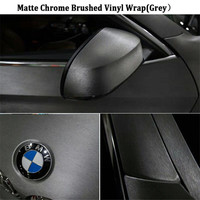 1 PC 20mx152cm GREY Chrome Brush Vinyl Car Wrap Silvery Vinyl Car Sticker FREE SHIPPING High