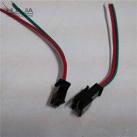 100 Par de 3 Pinos JST Conectores Para WS2811 WS2812B LED Strip feminino Masculino 3PIN Plug e do Soquete Com 15 cm de Comprimento Do Fio Vermelho/Verde/Branco