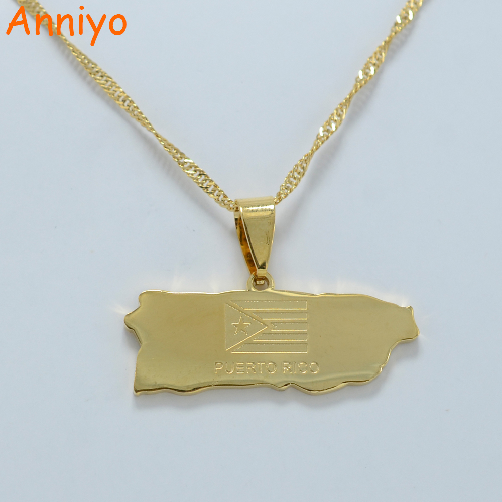 Anniyo Puerto Rico Map Pendant and Thin necklaces for Women/Girl Puerto Ricans Itmes #002321