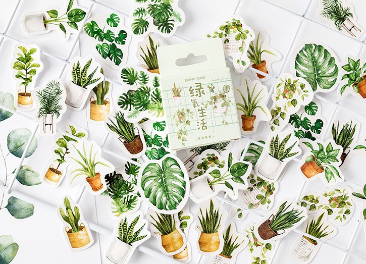 Green Life Diy Decorative Stationary Stickers(1pack=45pieces)