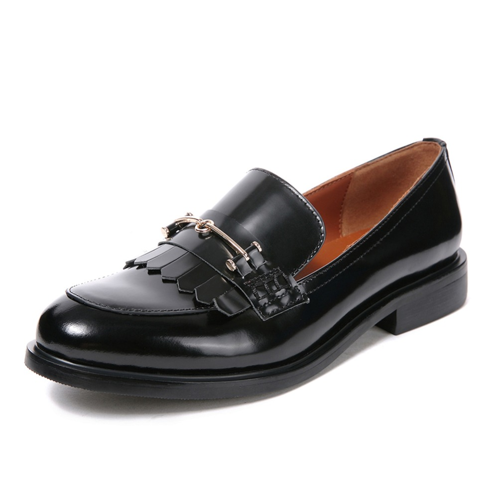 High Quality Women oxfords Low Heel Casual shoes Patent Leather Tassel Comfort Slip-on Round Toe Creeper black Loafers high quality women oxfords low heel casual shoes patent leather tassel comfort slip on round toe creeper black loafers