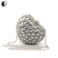 2016 New Design Women Brand Design Diamonds Clutches Gold Messenger Bags Vintage Heart Shape Shinning Party