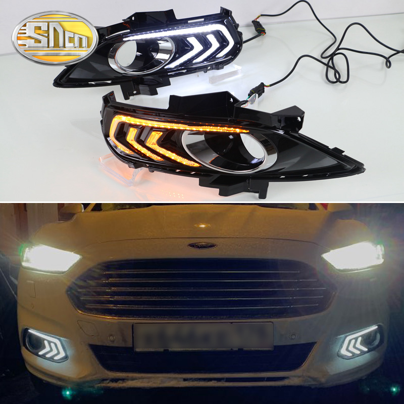 Untuk Ford Mondeo Fusion 2013 2014 2015 2016 Yellow Turning Signal Relay Waterproof Car DRL Lamp LED Running Light Daytime SNCN