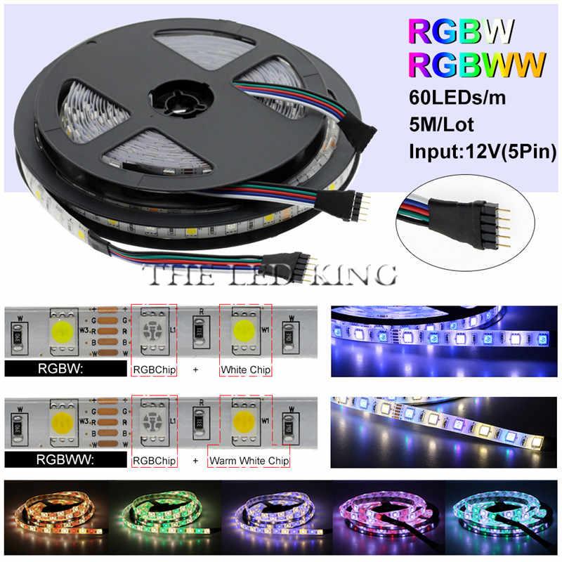 DC 12 V bande de lumières LED 5050 rvb RGBW RGBWW lumière LED 12 V 5 M 60LED s/m bande de néon Flexible LED étanche bande de lampe rétro-éclairage TV