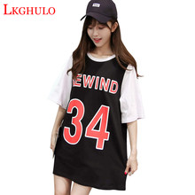 2018 New Letter Digital Print Black White t-shirts 2018 Summer Cotton Short tees Tops Brand Loose Fake two pieces Tops A165(China)