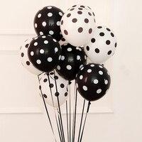20 unids/lote de globos de látex estampados en blanco y negro de 12 pulgadas para boda, bar, tomar fotos, accesorios para fotos, suministros y decoraciones para fiestas