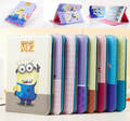 2013 New Arrive Cute Anime Despicable Me 2 Minions Smart PU Leather Stand Case Cover Skin For ipad 4 2 or for ipad3 freeshipping