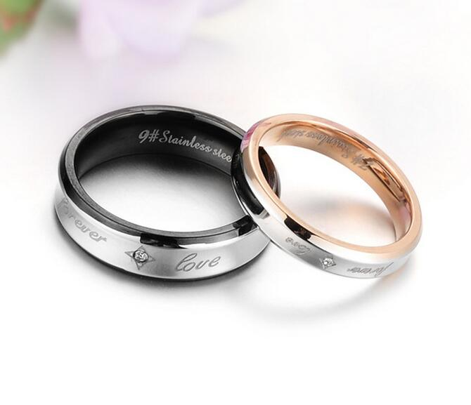 Rose Arey Wholesale Stainless Steel Wedding Bands Couple Rings Retro Style FOREVER LOVE Lovers Promise Cubic Zirconia Ring GJ283