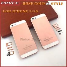 2016 nueva tapa de la carcasa para iphone 5 5s oro rosa como sí estilo, tapa de la batería carcasa para iphone 5s de metal blanco gris