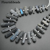 Natural Gemstone Labradorite Double Point Hole In Center Graduated Stone Loose Beads