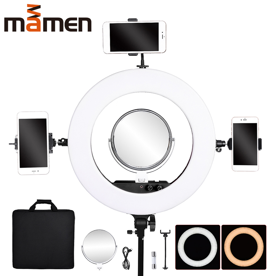 18 inch 80W Youtube Vlogging Photography lighting Dimmable LED Selfie Ring Light Video Live Photo Studio With Phone Holder
