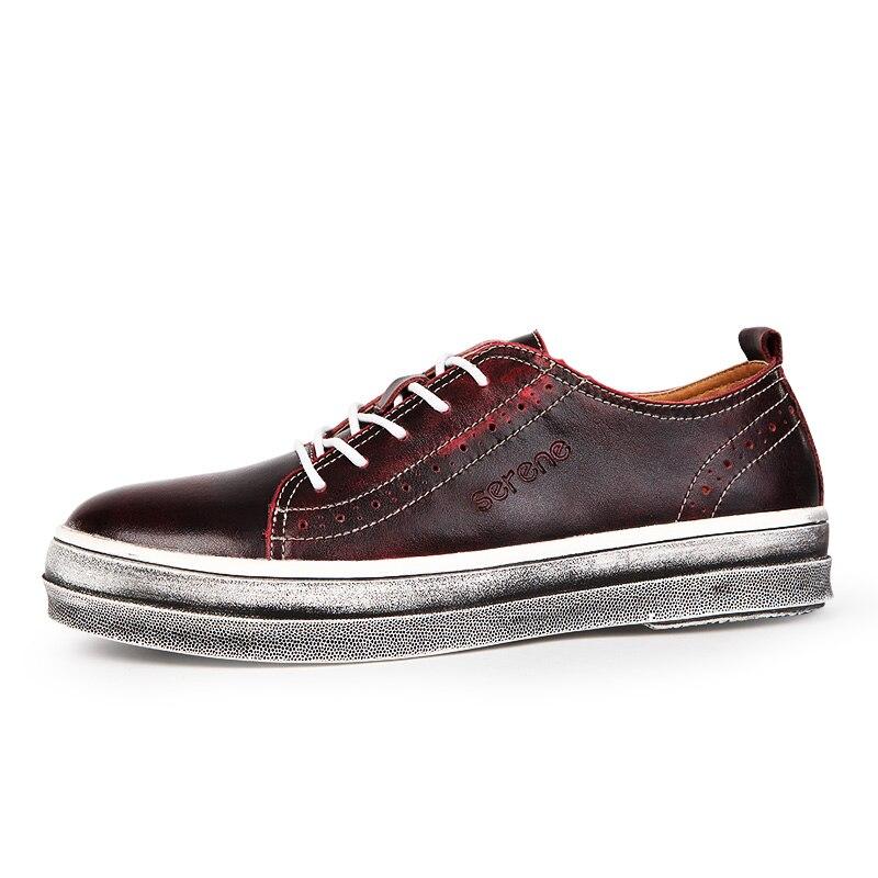 Caminar Red Cuero wine Casual Encaje Acuerdo Mocasines up Viejo Zapatos Tallado 6282 Británico Primavera gray golden Niza De Retro Para Estilo Hombres Blue A1aqXwWB