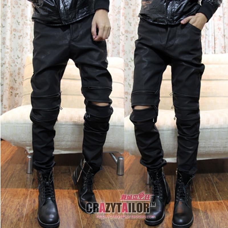 NOUVEAU!! hommes de vêtements de mode noir mat nubuck en cuir pantalon pipkin mâle pantalon de haute qualité en cuir pantalon/29-35